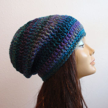 Slouchy Beanie Hat Crochet Slouch Beanie Womens Purple Blue Beanie Stripe Slouchy Beanie Spring Hats Vegan Hat Gift Ideas Gift for Her