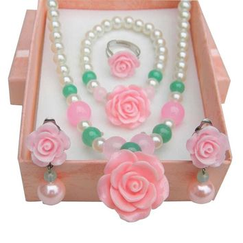 Pink Beautiful Necklace/Bracelet/Ear Clips/Ring Set for Kids