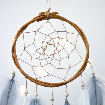 Small Dream Catcher Gray and White - Boho Girls Boys DreamCatcher Wall Hanging Baby Tribal Crib Baby Feathers New Baby nursery