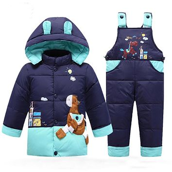 Kids Down Coat Autumn Winter Baby Parka Children Warm Jackets Infantil Snowsuit Girls Boys Outerwear Thick Coat+Pant Clothing