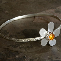 Amber and silver flower bangle by Nici Laskin