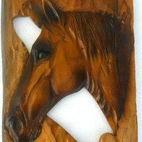 "Horse Head Wood Carving Natural Teak Wood Hand Carved Horse Head Rustic Driftwood Reclaimed Wall Hanging Home Art Decor / Gift 18""X10"""