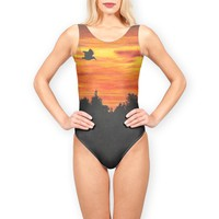 'Sunset with bird' Swimsuits by Savousepate on miPic