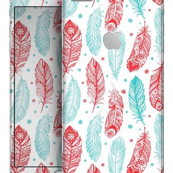 Red & Blue Feather Pattern - Skin-kit for the iPhone 8 or 8 Plus