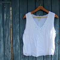 STOREWIDE SALE...white rayon tank top. Lace cutouts tank. size XL