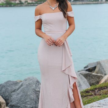 Blush and Silver Off Shoulder Maxi Dress