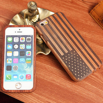 handmade wool carving american flag iPhone 5s 6 6s plus case