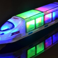 WolVol Beautiful 3D Lightning Electric Train Toy with Music, goes around and changes directions on contact (Battery Powered) - Great Gift Toys for Kids
