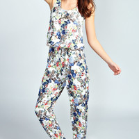 Gina Floral Sleeveless Jumpsuit With Love Necklace