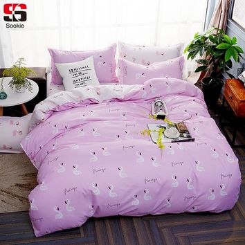 Sookie Pink Flamingo Print Bedding Set Twin Full Queen King Size Duvet Cover Sets 3pcs Bed Linen Soft Cartoon Style Bedclothes