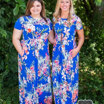 Royally Blue Floral Maxi
