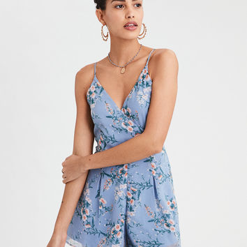 AE Floral Pleated Romper, Blue