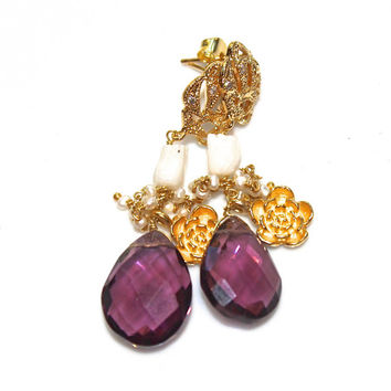Large Amethyst Earrings Amethyst Jewelry Statement Earrings Dressy Earrings Holiday Style Coral Earrings Vintage Coral Earrings FizzCandy