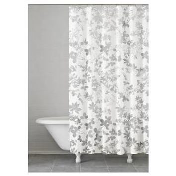 "Floral Ombre Shower Curtain Grey (74""x74"") - Kassatex : Target"