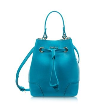Furla Designer Handbags Stacy Turchese Saffiano Leather Mini Bucket Bag