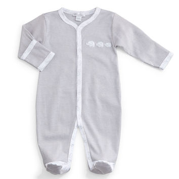 Baby Elephants Pima Footie Pajamas, Gray/White, Size Newborn-9 Months,