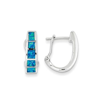 Sterling Silver Blue Inlay Simulated Opal Squares Hoop Earrings