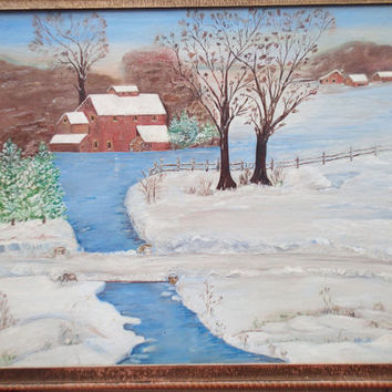 Folk Art Primitive Winter scene painting Artist signed- Rural New England farm scene - Snyder, NY -Signed Ada '51
