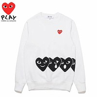 Play Autumn And Winter New Fashion Embroidery Small Love Heart Big Print Women Men Long Sleeve Top Sweater White