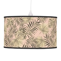 Palm leaf tropical pendant lamp