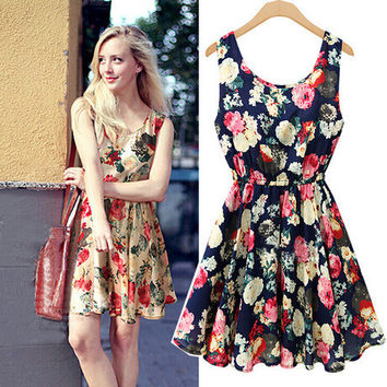 V Shape Stylish Floral One Piece Dress [6338825473]