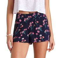 PLEATED FLORAL PRINT HIGH-WAISTED SHORTS