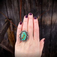 """Royston Turquoise Victorian Style Ring/ Artisan Jewelry / Boho Jewelry/ Size 7.5 / """"Ready to Ship"""""""