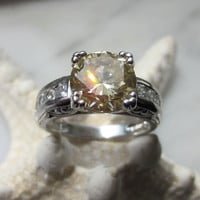 Sterling yellow topaz cz diamond engagement ring silver promise ring wedding bridal jewelry November birthstone vintage ring size 6 3/4