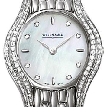 Wittnauer 10R26 Women's White Mother of Pearl Diamond Bezel Watch