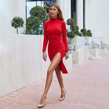 Winter Women Turtleneck Dresses Autumn Sexy Bodycon Long Sleeve Solid Red Knitted Elegant Midi Pencil Dress For Women Female