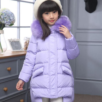Good quality 2016 New Children Winter Jacket Girls Warm Thickened Down Coat Kids Causal Outdoor Snow Proof Coat Outerwear Parkas