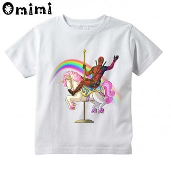 Kids Superhero Deadpool And Unicorn Design T-Shirts Children's Casual Short Sleeve Short Tops Boys/Girls Cute T Shirt,HKP3020