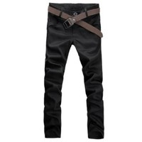 Mens NEW Casual Front Slant Pockets Slim Fitted Straight Trousers