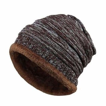 Mens Fleece Cap Baggy Winter Striped Cashmere Beanie Hat Fashion Women Knit Wool Hats Casual Unisex Skullies Beanies Warm Caps