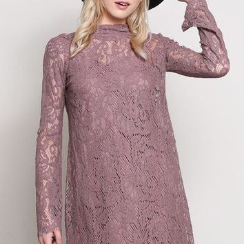 Luxe in Lace Mock Neck Shift Dress - Mauve