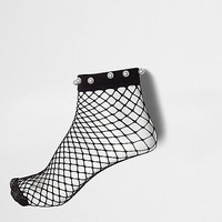 Black faux pearl fishnet ankle socks - Tights & Socks - women