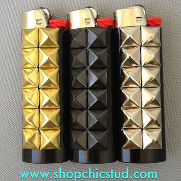 Custom Studded Lighter - Standard Size - Black with Gold, Silver or Black Studs -