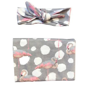 HEADBANDS OF HOPE FANCY FLAMINGO SWADDLE SET