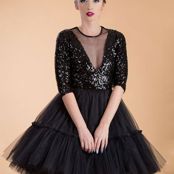 Black Sequined Stitching Mesh Vintage Half Sleeve See-through Mini Princess Hepburn Dress