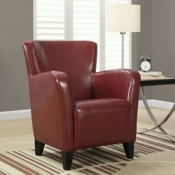 Red Leather-Look Club Chair