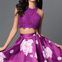 Two Piece Purple Floral Print Short Racerback Dress