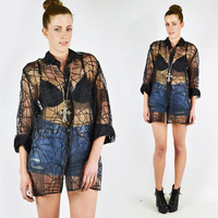 vtg 80s 90s grunge goth black SHEER abstract SPIDERWEB print OVERSIZED button up tunic shirt blouse top S M L