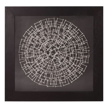 Howard Elliott 64029 Abstract Round Silver Nail Art w/ Black Wood Grain Veneer Frame Square Wall Art