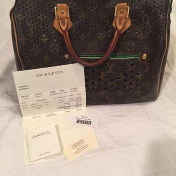 Auth Louis Vuitton Monogram Perforated Green Speedy 30 Hand Bag with Receipt