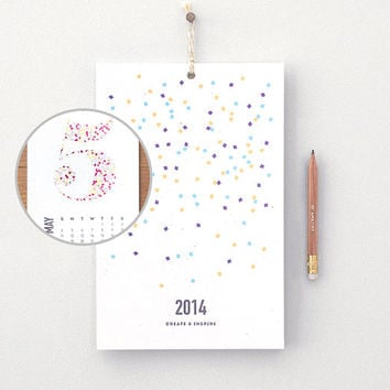 2014 Calendar & Pencil Set - Confetti Wall Calendar, Create and Inspire - Geometric Colorful Numbers