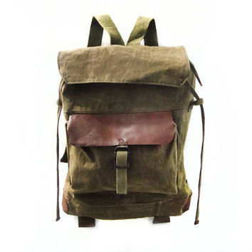 Leather & Hand Waxed Canvas Backpack, Rucksack Named Sessa Carlo, Sessa Carlo Series (Olive Green, Bittersweet Brown)