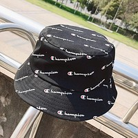 Champion Summer Popular Casual Full Logo Print Shade Sunhat Fisherman Hat Cap Black I12420-1