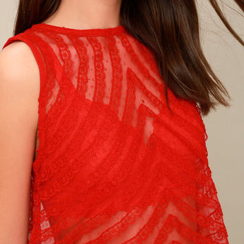 She's a Doll Sheer Red Lace Crop Top