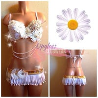 White Daisy Flowers Rhinestone Rave Bra and Bottoms, Costume 4 EDC, Electric Daisy Carnival, Ultra, EDM FestivalsTomorrowland