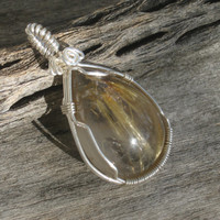 Rutilated Quartz Teardrop Gemstone Pendant, Sterling Silver Wire Wrapped AA Grade
